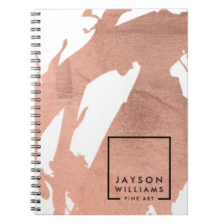 Modern Artist Abstract Faux Rose Gold Brushstrokes Notebooks