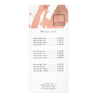 Modern Artist Abstract Faux Rose Gold Brushstrokes Rack Card