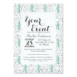 """Modern Artistic Abstract Cactus and Triangles 3.5"""" X 5"""" Invitation Card"""
