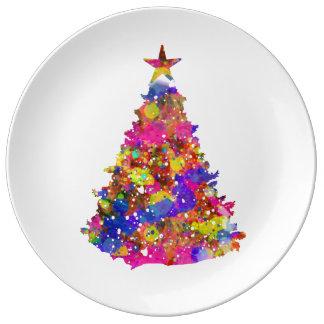 Modern Artistic Bright Christmas Tree Gift Plate Porcelain Plates
