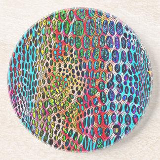 Modern Artistic Fall Toned Snake Skin Pattern Coaster