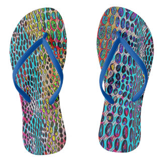 Modern Artistic Fall Toned Snake Skin Pattern Flip Flops