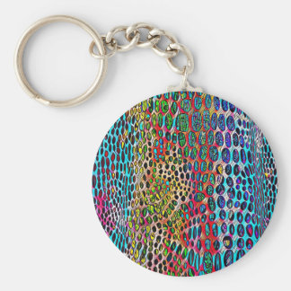 Modern Artistic Fall Toned Snake Skin Pattern Keychain