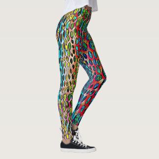Modern Artistic Fall Toned Snake Skin Pattern Leggings