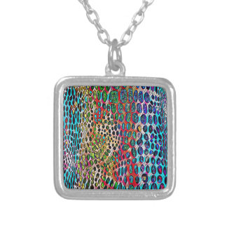 Modern Artistic Fall Toned Snake Skin Pattern Silver Plated Necklace