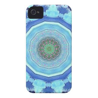 Modern Artistic Shades of Blue Mandala iPhone 4 Case