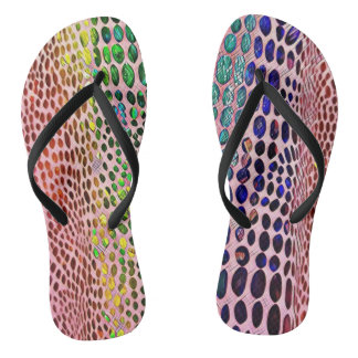 Modern Artistic Spring Pastels Snake Skin Pattern Flip Flops