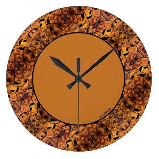 Modern Autumn Leaves Silhouette Pattern Large Clock