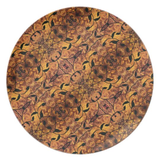 Modern Autumn Leaves Silhouette Pattern Plate