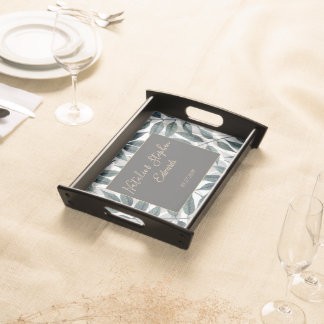 Modern autumn leaves wedding collection serving tray