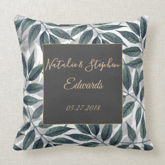 Modern autumn leaves wedding collection throw pillow