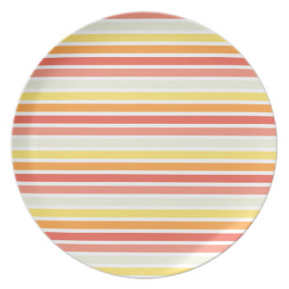 Modern Autumn Stripes Party Plate