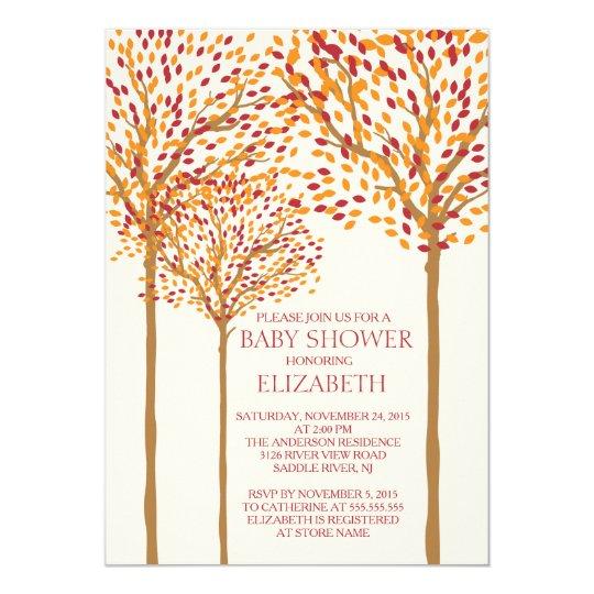 Modern Autumn Trees Neutral Baby Shower Invitation