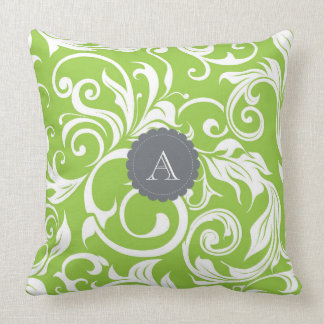 Modern Avocado Floral Wallpaper Swirl Monogram Throw Pillow