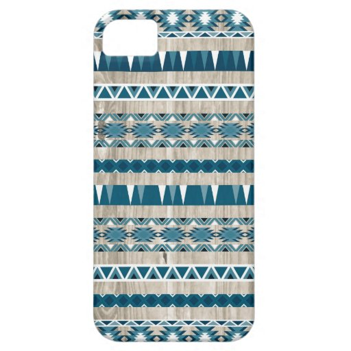 Modern Aztec Pattern on Wood iPhone 5 Cover