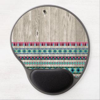 Modern Aztec Pattern on Wood Gel Mouse Pad