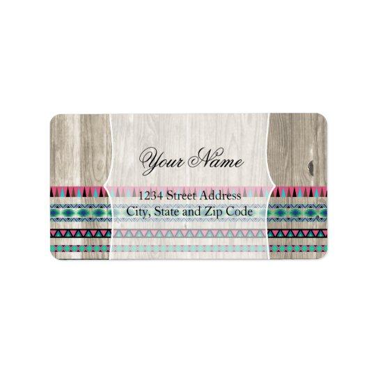 Modern Aztec Pattern on Wood Label