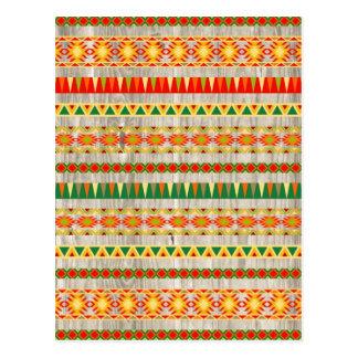 Modern Aztec Pattern on Wood Postcard