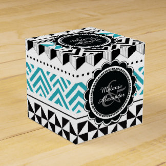 Modern Aztec Tribal Geometric Black and Aqua Favor Box