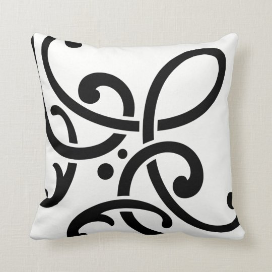 Modern B&W, black scrolls on white Throw Pillow