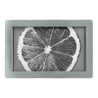 Modern  B&W Grey cut Grape Fruit Design Rectangular Belt Buckle