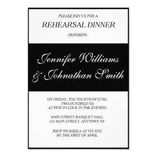 Modern B&W wedding rehearsal dinner invitations