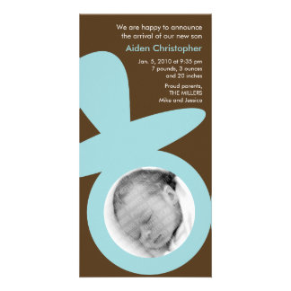 Modern Baby Announcement - Blue Pacifier Photo Cards