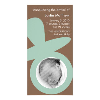 Modern Baby Announcement - Seafoam Green Pacifier Custom Photo Card
