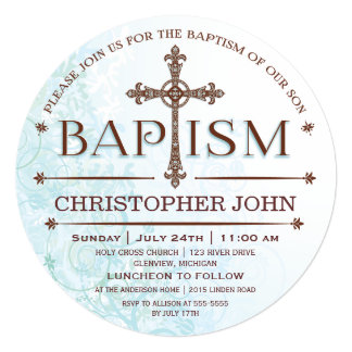 Modern Baby Boy Baptism Circle Invitation