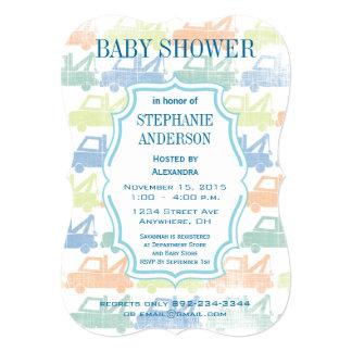 Modern Baby Boy Tow Truck Shower Card