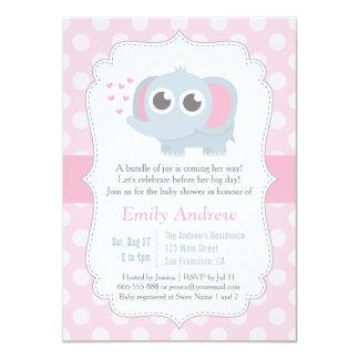 "Modern Baby Elephant Polka Dots Baby Shower 4.5"" X 6.25"" Invitation Card"