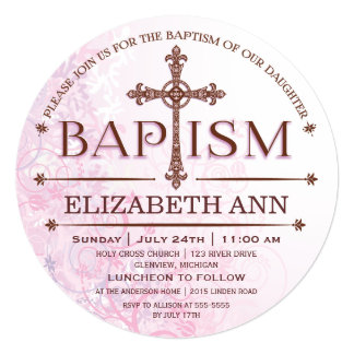 Modern Baby Girl Baptism Circle Invitation