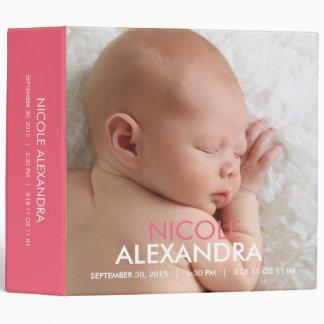 Modern Baby Photo Album - Pink 3 Ring Binder