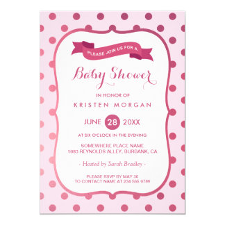 Modern Baby Shower Girly Magenta Pink Polka Dots Card