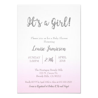 Modern Baby Shower It's a Girl Pink Glitter Card