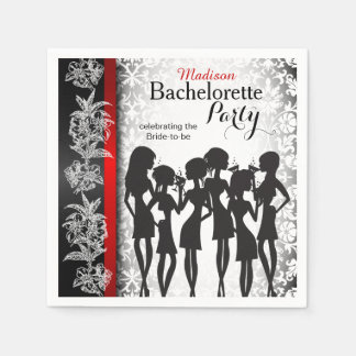Modern Bachelorette Party Celebration - Damask Paper Napkin