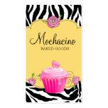 Modern Bakery Business Card Cupcake Zebra Yellow