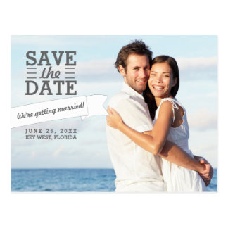 Modern Banner Save the Date Wedding Photo Postcard
