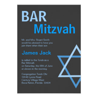 Modern Bar Mitzvah Invitiation- Blue Grey Custom Announcements