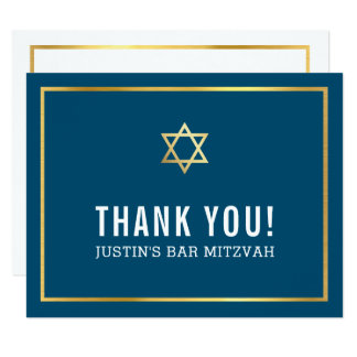 MODERN BAR MITZVAH simple thank you gold star navy Card