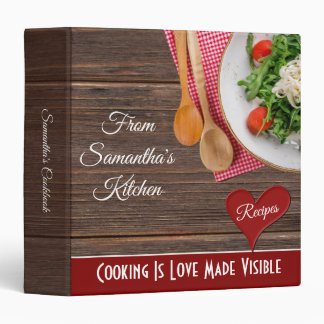 Modern Barn Wood Personalized Recipe Cookbook Binder