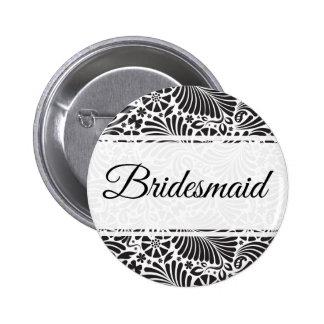 Modern Baroque Floral Bridesmaid 2 Inch Round Button