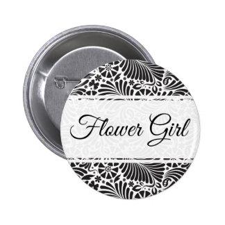 Modern Baroque Floral Flower Girl 2 Inch Round Button