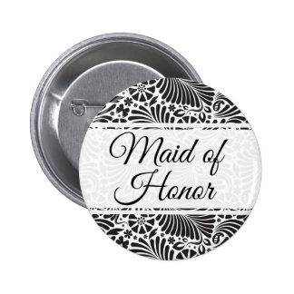 Modern Baroque Floral Maid of Honor 2 Inch Round Button
