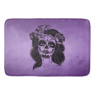 Modern Bath Math, Purple Face Design Bath Mat