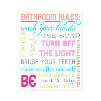 Modern Bathroom Rules Canvas Art Print