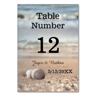 Modern Beach and Shells Wedding Table Number Card