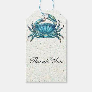 Modern Beach Blue Crab Starfish Seahorse Favor Gift Tags