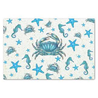 Modern Beach Blue Crab Starfish Seahorse Party Tissue Paper