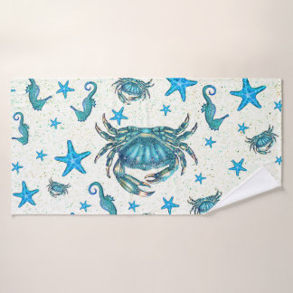 Modern Beach Blue Crab Starfish Seahorse Sparkle Bath Towel Set